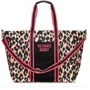 NWT Victoria's Secret Black And Pink Leopard Tote